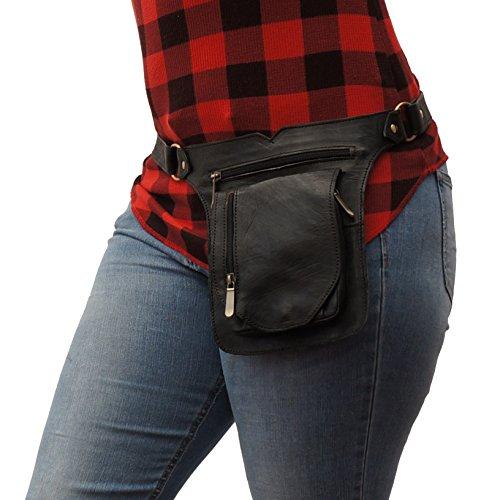 Hip Slung Belt (All Leather Hip Bag- Bum Belt Bag | Fashionable Fanny Pack By Urban Turbanista (Black Saddlbag))