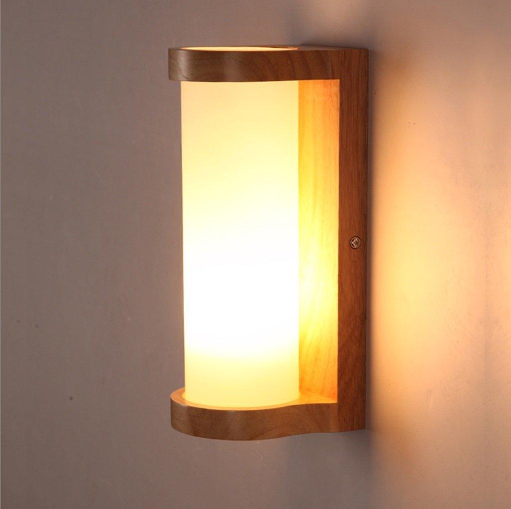 Natural Solid Wood Wall Lamp Bedroom Bedside Lamp Balcony Lamp Creative Glass LED Aisle Lights