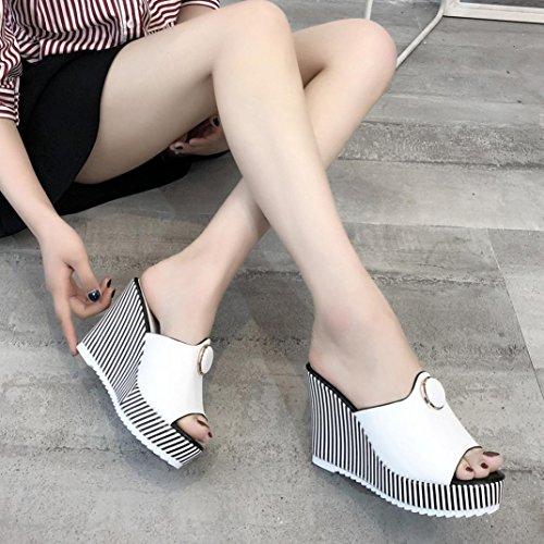Women Inddor Slope High Slipper Heels Platform Outdoor Stripe White Sandals Fashion BqBxrSRZ