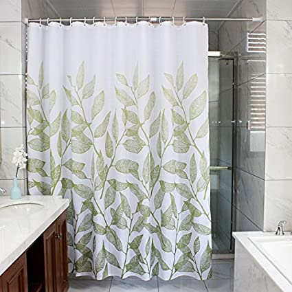 Ufelicity Home Stylish Shower Curtain Leaves Print Thick Polyester Bath Water Repellent And Mildew