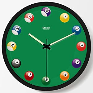 Night Light Function Wall Clock, Billiards Pattern Design Clock Dial Luminous Pointer Resin Frame Ultra Silent Quartz Clock-Black 16 Inch (40.5 cm)