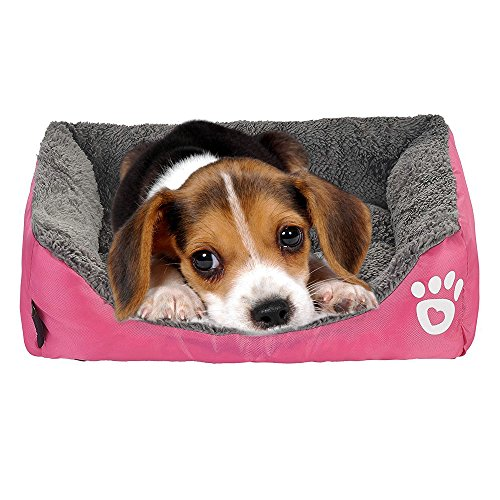 (Giho Soft Washable Self-Warming Rectangular Dog Basket Bed with Fleece Lining, Small, Rose)