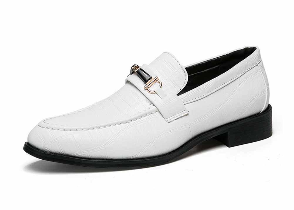 GLSHI Hombres Zapatos Oxford De Cuero De Moda De Moda Oxford 2018 De Moda Modelo De Moda De Cocodrilo (Color : Blanco, tamaño : 39) 39 Blanco