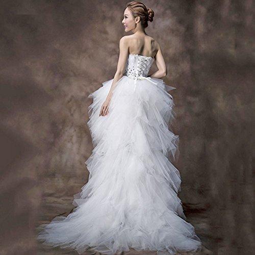 Abito Posteriore Lungo Strapless Anteriore Sposa Drasawee Sposa Corto Increspato Da IICSx0