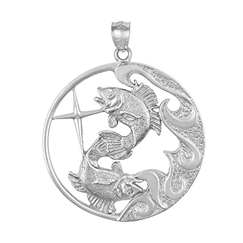 - 10.0g Sterling Silver PISCES FISH Zodiac Horoscope Large Pendant, Made in USA