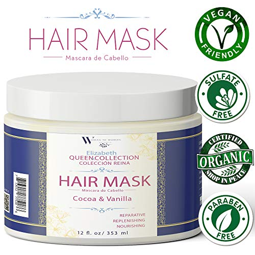 Queen Collection Organic Hair Mask for Dry Damaged Hair Restructuring, Reparative, Replenishing & Nourishing