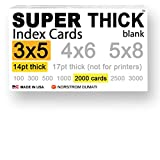 2,000 SUPER THICK index cards / 3''x5'' / 14pt (0.014'') thick 100lb / blank unruled / 97 bright white / note cards, postcards / heavyweight, extra heavy duty, acid-free, 3 X 5 card stock in bulk