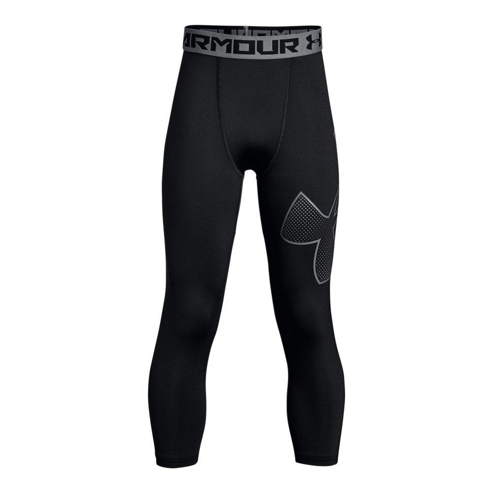 Under Armour Boys' HeatGear Armour Logo ¾ Leggings, Black (003)/Black, Youth X-Small