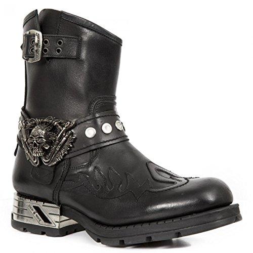 Nieuwe Rock Handgemaakte M Mr041 C9 Zwarte Mannen Laarzen