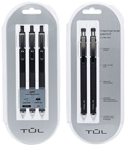 TUL Gel Pens Black (3-count) & TUL Mechanical Pencils (2-count) School Supplies Bundle