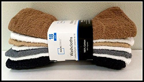 Mainstays Washcloths Neutral Brown, White, Black, Tan & Gray 18 Pack by Mainstay