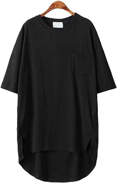 SAYM Women Oversize Pocket Open Fork Hem Long T-Shirt Tops