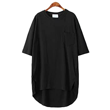af15a48bbd SAYM Women Oversize Pocket Open Fork Hem Long T-Shirt Tops