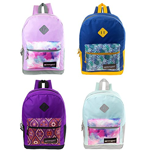 """17"""" Wholesale Backpack in 4 assorted prints - Bulk Case of 2"""