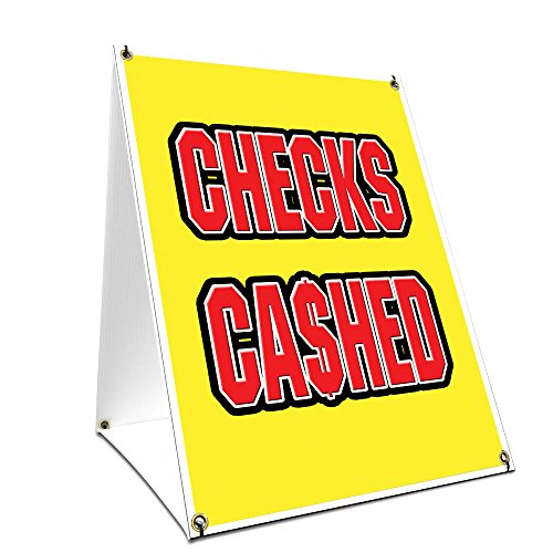 "A-frame Sidewalk Checks Cashed Sign With Graphics On Each Side | 18"" X 24"" Print Size from SignMission"