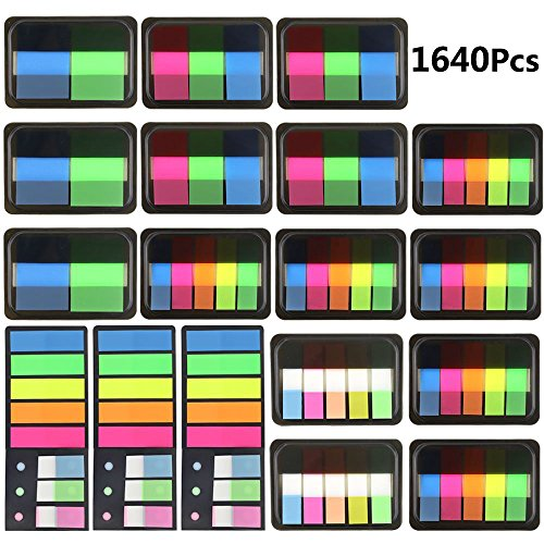 JPSOR 1640pcs Page Markers Neon Colored Pop-up Index Tabs, Fluorescent Index Labels Flags Stickers, 18 Sets 5 Sizes (1640pcs) - Index Tab Stickers