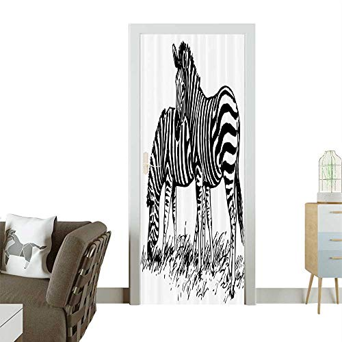 Door Sticker ple Eating Grass Field Minimalist Zoo Nature Black White Removable Door Decal for Home DecorW30 x H80 INCH