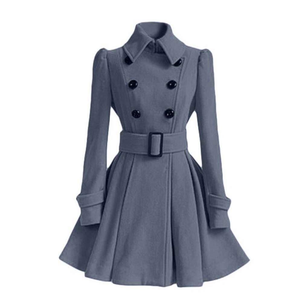 Amazon.com: Women Trench Coat Winter Belt Buckle Trenchcoat Double-Breasted Vintage Coat: Clothing