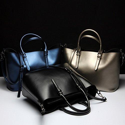 De Las Moda Black Bolso Cuero Size Señoras Silver M Grossartig color Diseño 2018 4p5gxxW