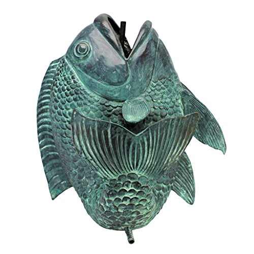 Design Toscano SU1028 Asian Dancing Koi Fish Piped Statue Fountain Pond Water Feature, Large, 22 Inch, Green Verdigris
