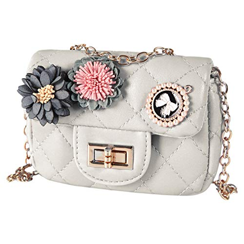 Girls PU Leather Crossbody Bag Flower Quilted Purse Metal Chain Shoulder Bag