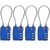 4 Pack TSA Approved Cable Luggage Travel Lock, 3-Digit Combination Security Locks for Suitcase and Baggage (Blue)