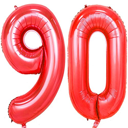 40inch Red Foil 90 Helium Jumbo Digital Number Balloons, 90th Birthday Decoration for Women or Men, 90 Birthday Party Supplies