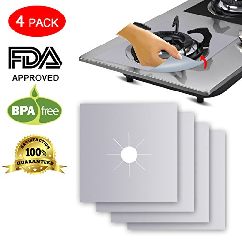 """Stove Burner Covers Silver, Makerfire 4 Pack Gas Range Protectors, Stove Top Burner Liners for Kitchen, 10.6""""x 10.6"""" 0.12mm Heat-Resistant Reusable Easy-cleaned Dishwasher Safe"""