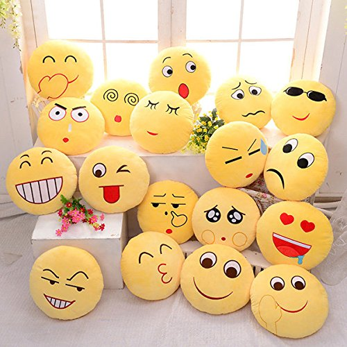 Cute Emoji Expression Throw Pillow Stuffed Plush Sofa Bed Custion ( Heart ) by Freelance Shop Home and kitchen
