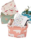 Puting Set of 4 Pack Storage Basket Bins, Home Decor Canvas Organizers Bag, Storage Bins Basket for Adult Makeup, Baby Toys Liners, Books