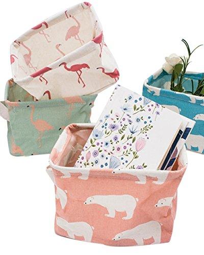 PUTING Set of 4 Pack Storage Basket Bins, Home Decor Canvas Organizers Bag, Storage Bins Basket for Adult Makeup, Baby Toys Liners, Books ()