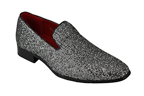 Rossellini Mens Shiny Glitter Leather Loafers Black White Bronze Smart Formal Party Slip on Shoes Silver JuQmlf9