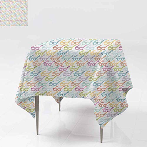 - Elegant Waterproof Spillproof Polyester Fabric Table Cover Colorful Pattern with Classical Old Fashioned Eyeglasses Nerd Smart Hipster Doodle Table Decoration W60 xL60 Multicolor