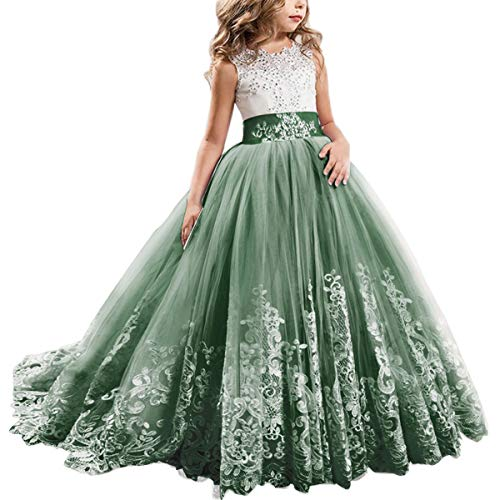 Flower Girl Dresses For Fall Wedding (FYMNSI Flowers Girls Applique Tulle Lace Wedding Dress First Communion Birthday Christmas Prom Ball Gown Green)