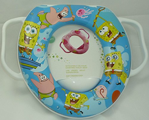 Mummy Hug Baby Kid Soft Padded Potty Training Toilet Seat with Handles, Luxury Suitable for Standard Oval Toilet Seats (Spongebob)