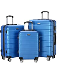 Resena 3 Pieces Hardside Spinner Luggage Sets Travel Carry On Suitcase