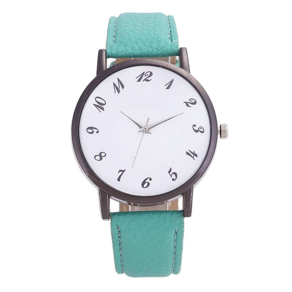 NRUTUP Women Fashion Leather Band Analog Quartz Round Wrist Watch Watches Hot Sales(Green,Free Size)