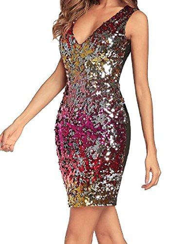 Red Collar Mid Coolred Glitter Sleeveless Sexy Notch Dress Sequin Women w4Xw0z