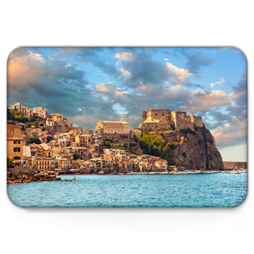 KAROLA Doormat Indoor Bathroom Entrance Mat Non Slip Backing Kitchen Hallway Entry,Small Town Next to Blue Beach in Sicily Landscape