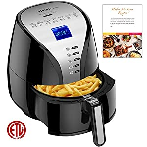Air Fryer, Habor 3.8 Qt Healthy Electric Air Fryers with 80% Less Fat, Oilless 1500W Multi-Cooker for Fries Chicken Steak Shrimp Cake Fish Christmas, with Recipes &CookBook, Dishwasher Safe, Black