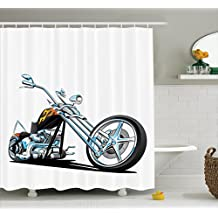 Manly Decor Shower Curtain Set By Ambesonne, American Chopper Motorcycle Competitions Traveling Tough Wild Cool Sport, Bathroom Accessories, 69W X 70L Inches