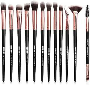 MAANGE Brocha de Maquillaje Profesionales 12 Piezas Set de Pinceles de Paquillaje Brochas para Ojos Blending Eyeliner Eyelash Eyebrow Brush (Oro negro)