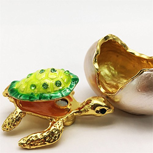 Waltz&F Bejeweled Turtle in Hatching Egg Trinket Jewelry Box Crystal Diamond Turtle Keepsake Box Bejeweled Turtle