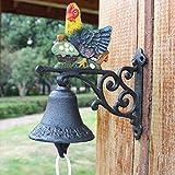 LXYFMS American Country Cast Iron Chicken Doorbell Hand Bell Creative Wrought Iron Garden Wall Decoration Doorbell 17x8x17cm Cast Iron doorbell