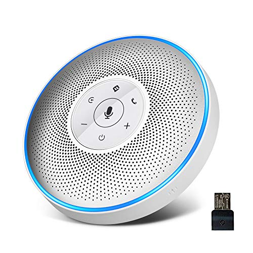 Bluetooth Speakerphone - eMeet M2 White Conference Speaker for 5-8 People Business Conference Phone 360º Voice Pickup 4 AI Microphone Self-Adaptive Conference Call Speaker Skype, Webinar, Phone