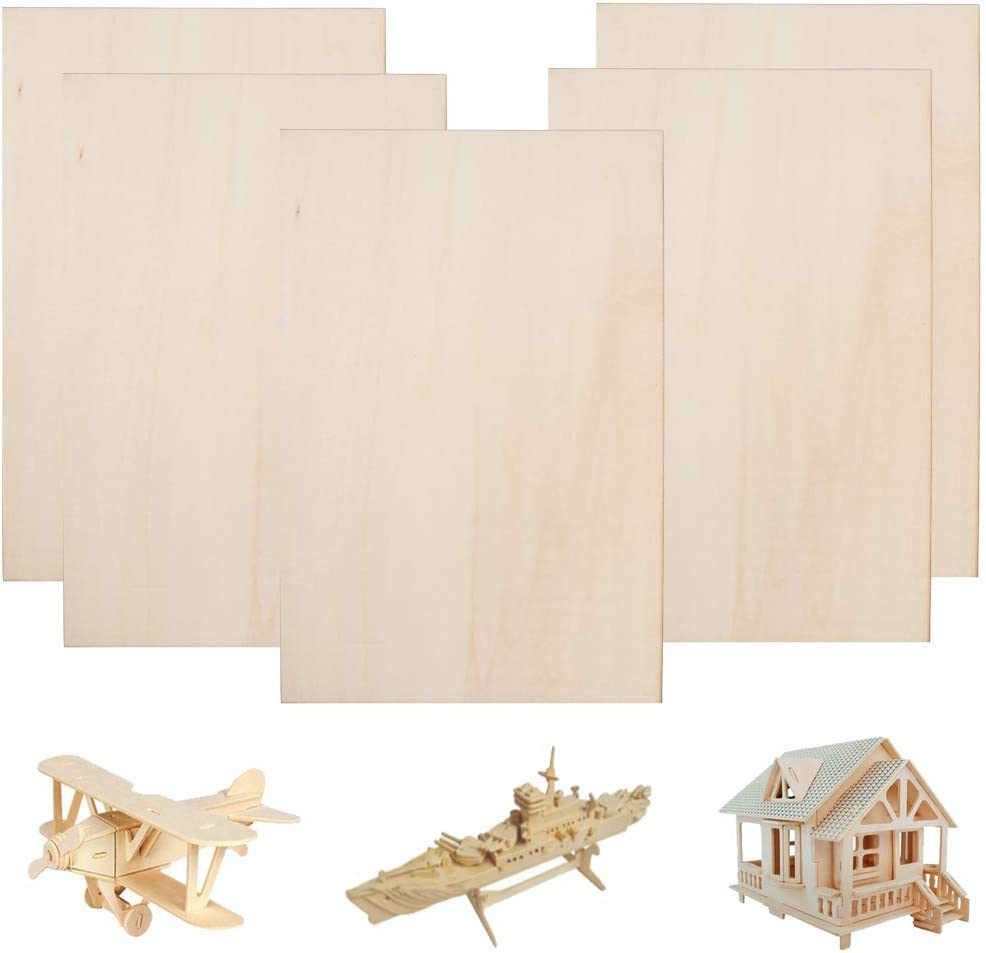 FOGAWA Balsa Wood Sheets 300x200x1.5mm Unfinished Unpainted Basswood Plywood Thin Sheets Baltic Birch Plywood for Mini House Airplane Ship Boat DIY Model 5pcs