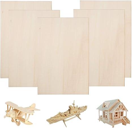 FOGAWA Balsa Wood Sheets 1/16 ×8×12 Inch Unpainted Thin Plywood Wood Sheets Baltic Birch Plywood for Cricut Maker Mini House Airplane Ship Boat DIY Model (5 Pcs)
