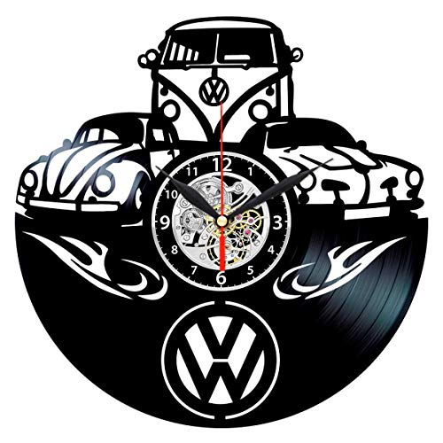 VW Vinyl Clock, Volkswagen Record Wall Art - VW Bus Decor - Vintage Gifts for Men