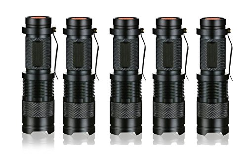 Ledsniper 5 Pack 3 Modes Handheld Mini Cree Q5 LED Flashlight Torch Tactical Lamp 7w 500lm Adjustable Focus Zoomable Light
