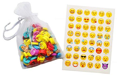 Kids Favorite Emoji Emoticon reward/party favor 50 Mini-Erasers, 48 sticker Bundle, 2 PC